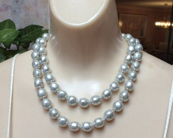 "Vintage palest grey 34"" faux pearl necklace, silvery white irregular big faux pearls long necklace, gleaming white grey knotted 34"" strand"