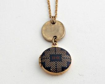 Locket Necklace Mini Small Lockets Alyson Fox Art Blue Gold Delicate Layering Jewelry Geometric Design Print Photograph Custom Jewellery