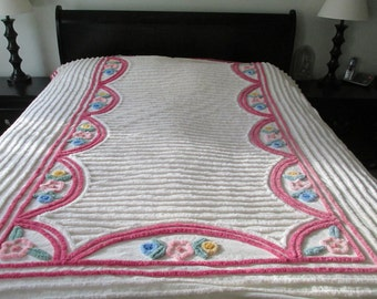 "Vintage Chenille Bedspread 74"" x 102"" identical 2nd one available"