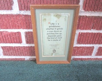 Vintage 1920s/30s Framed Little American Institue of Business Des Moines Iowa Motto