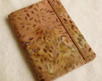 Batik Covered Pocket Memo Book, SEEDS, Refillable Mini Composition Notebook Cover in Earthy Brown