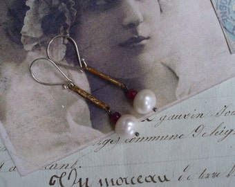 Vintage Assemblage Bar, Pearl and Ruby Earrings