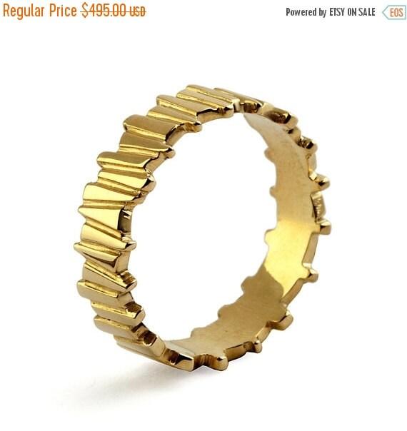 HOLIDAYS SALE - TEMPO 14k Yellow Gold Wedding Ring, Unique Wedding Band Ring, Alternative men's wedding band, His and Hers Wedding Band Set
