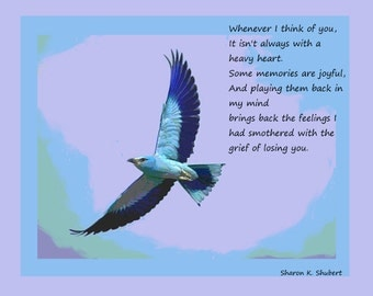 Poetry Art, Dealing With Grief, Nostalgic Verse, Blue Purple, Home Decor, Typography Wall Hanging, Flying Bird, Giclee Print, 8 x 10