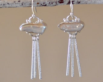 White Biwa Pearl Earrings. Sterling Silver. PEARLS OF LOVE. Fresh Water Pearl Gemstone Earrings. Silversmith. Fine Wedding Jewelry.