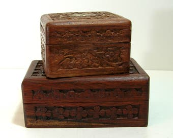 Vintage Wood Boxes, Set of Two, Hand Carved Boxes