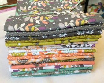 Fat Quarter Bundle Wildflowers RARE Out of Print Alissa Courter Camelot Fabrics Flowers Leaves Gray Coral Aqua piecesofpine