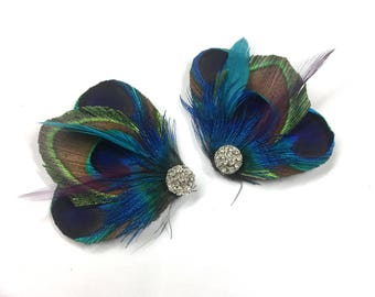 Peacock Feather Shoe Clips - Windsor Shoe Clips