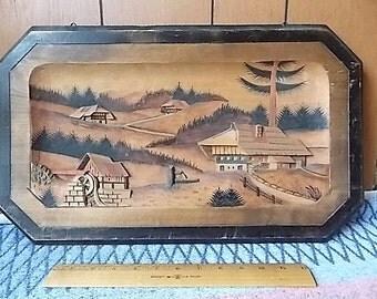 Large Vintage Black Forest Germany Carved Relief Rustic Village Scene Plaque