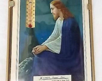 Vintage Jesus Christ Litho Kompf Funeral Home Syracuse Thermometer
