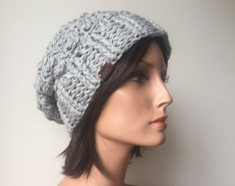 Textured Slouchy Hat crochet slouch tam pale Grey hemp wool sustsinable fashion winter warmer handmade ready to ship