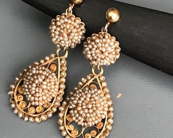 Old Georgian Victorian Earrings . 14kt  Gold . Filigree . Seed Pearl earrings .