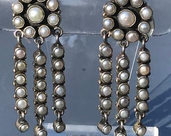 LONG Vintage Silver dangle Earrings  . Culutred Pearls  . Boho  Jewelry