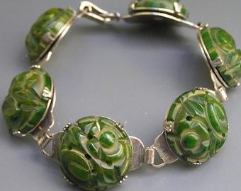 Vintage Deeply Carved Bakelite Bracelet . Art Deco Jewelry