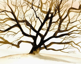 original watercolor painting of a silhouette of a tree in autumn / fall / winter