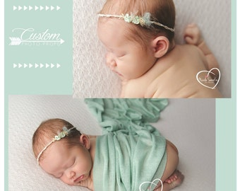 Newborn Girl Headband, Stretch Green Wrap Set, Mint Wrap, Newborn Photo Props, Baby Props, Handmade Headband, Photography Props, Tessa & Co
