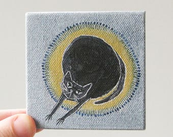 cat nap / cat art, original small painting
