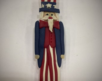 Handmade Clay Uncle Sam Brooch