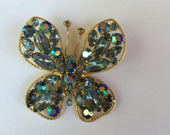 Vintage Blue Aurora Borealis Rhinestone Butterfly Brooch or Pin