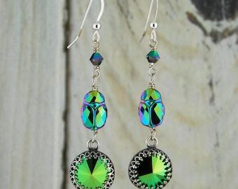 Green Crystal Scarab Beetle Earrings Cascade Drop Egyptian Scarabaeus Swarovski Sterling Silver