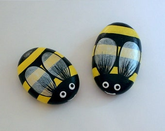 Easter-Mothers Day-gifts under 30-two sunny bumble bees-whimsical ooak spring fairy garden decor-honey bees-painted pet rocks-yellow-black