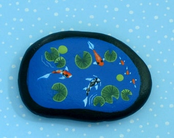 Summer Fairy garden accessories-miniature 3D Koi fish pond-painted rocks-terrariums kits-diy desktop dish garden kit-mini lagoon-Zen-faerie