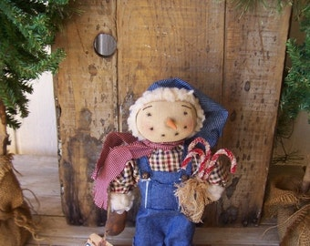 PrIMiTiVe Standing Snowman Art Doll with Glittered Candy Canes OFG HAFAIR FAAP