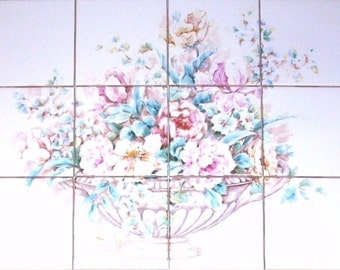 "Rose and Peonies Ceramic Tile Mural 12 pcs 4.25"" Kiln Fired Light Pink Flowers"