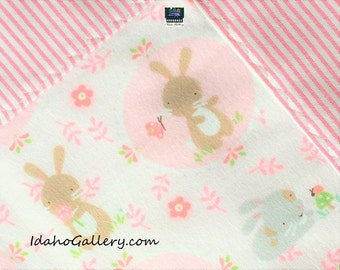 Baby Blanket Cotton Flannel Pink Stripe and Bunnies  and Flowers Infant Girl 34 x 35