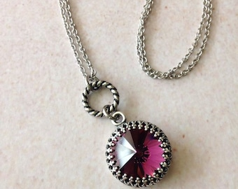 WORN ON: Law & Order SVU. Amethyst Swarovski Rivoli Crystal Necklace on Stainless Steel Chain