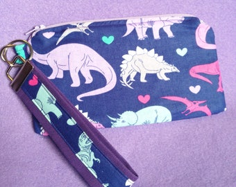 Dinosaur Zipper Pouch / wristlet and Key fob / Keychain set / Purple Zipper