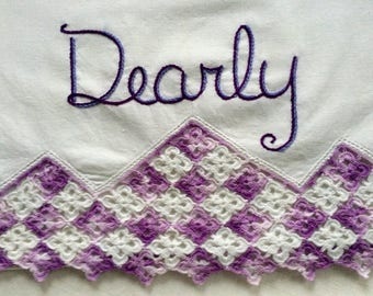 Dearly Beloved, Pillowcases, Hand embroidered, Prince gift, Pride wedding, Boho bedroom, Vintage, Couples gift, Wedding gift, Purple decor