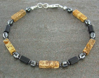 Unisex or Mens Anklet with Picture Jasper, Matte Glass and Hematite - Small to X-Large Sizes - 9 inch, 10 inch, 11 inch, 12, 13, 14