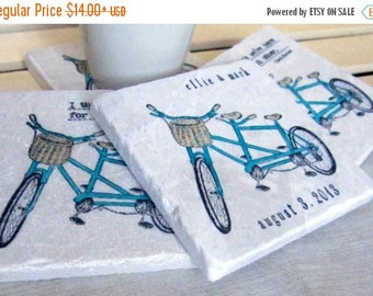 ON SALE Personalized Bike Drink Coasters - Gift for the Couple - Wedding Day Keepsake