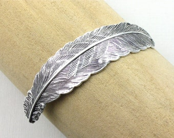2 sterling silver FEATHER jewelry CUFF Bracelet piece 83mm x 17mm (ST4b)