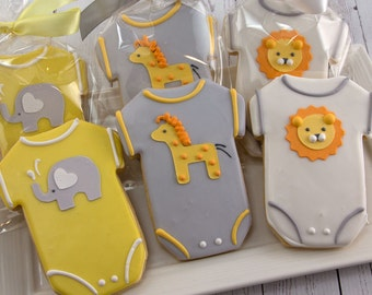 Baby Cookies, Animal Baby Shower Cookies, Elephant, Giraffe, Lion - (12 Sugar Cookie Favors)