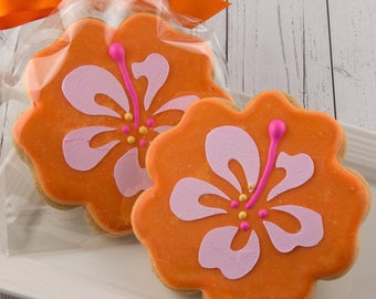 Hibiscus Flower Cookies, Luau Party, Hawaiian Party - 12 Decorated Sugar Cookie Favors