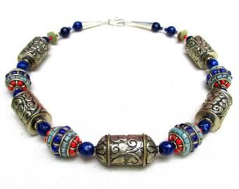 Lapis and Silver Tibetan Beads Necklace - Artisan Handmade Beaded Jewelry