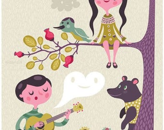 sing to me... limited edition giclee print of an original illustration (8 x 10 in)