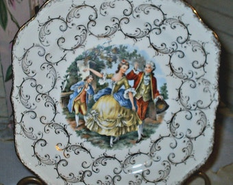 VICTORIAN STYLE - Vintage Porcelain Plate - Cabinet Plate - 22Kt Gold Accents and trim - Homer Laughlin