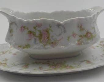 Vintage - Porcelain Gravy Boat - Gravy Dish - Made in Bavaria - Pink Flowers and Lime Green Greenery - Shabby Cottage - Romantic