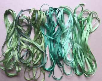 Grassy Green Mix - 16 metres of 3.5mm silk ribbon