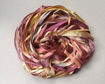 Silk Ribbon Remnants - Gold, Pink and Brown