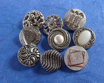 9 Unique Silver Colored Plastic Shank Buttons -  20-25mm  - Downsizing SALE  Must Go!