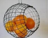 Woven Basket,  Hanging Basket, Sphere, Woven, Wire, Fruit, Handmade