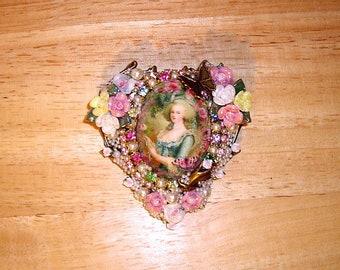 Marie Antoinette Heart Pin Brooch Pendant Ant Brass OX By Caroline Erbsland OOAK Signed