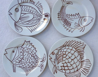 Vintage Fitz and Floyd Set of Four Seafood Nautical Fish Plates