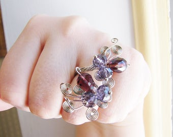 SALE- Vintage silver wire wrapped flower ring= with purple faceted beads- fully adjustable