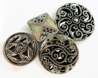 4 Vintage Silver Metal Mirror Back Buttons - Antique 1940s Silver Metal Twinkle