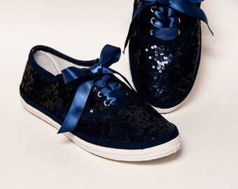 Sequin - CVO Navy Blue Canvas Sneakers Tennis Shoes with Satin Ribbon Laces